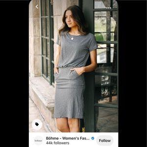 Audrey Striped Dress in Grey - X-Large / Grey